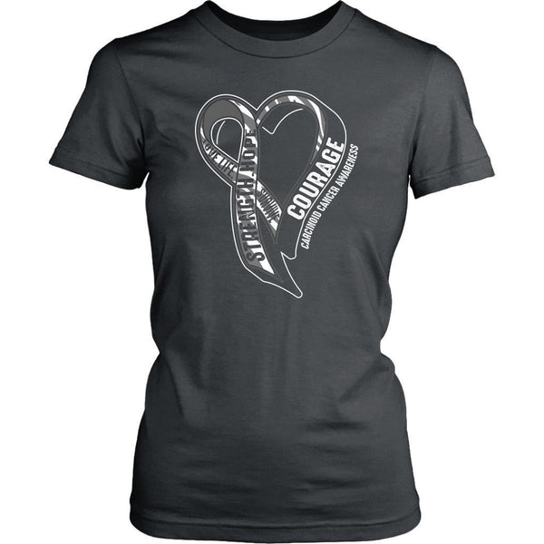 Love Life Survive Strength Hope Courage Carcinoid Cancer Awareness Women TShirt-T-shirt-District Womens Shirt-Grey-JoyHip.Com
