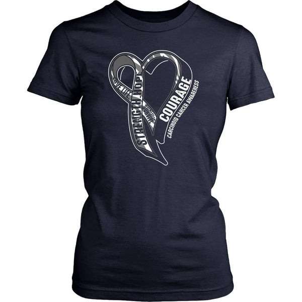 Love Life Survive Strength Hope Courage Carcinoid Cancer Awareness Women TShirt-T-shirt-District Womens Shirt-Navy-JoyHip.Com