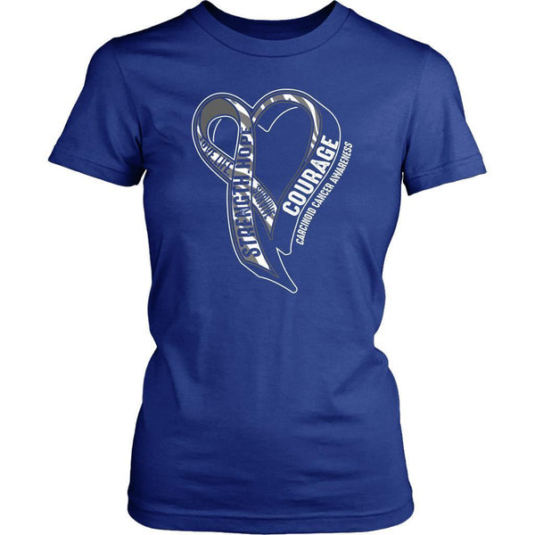 Love Life Survive Strength Hope Courage Carcinoid Cancer Awareness Women TShirt-T-shirt-District Womens Shirt-Royal Blue-JoyHip.Com