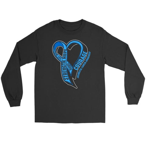 Love Life Survive Strength Hope Courage Colorectal Cancer Awareness Long Sleeve-T-shirt-Gildan Long Sleeve Tee-Black-JoyHip.Com