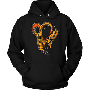 Love Life Survive Strength Hope Courage Leukemia Awareness Hoodie-T-shirt-Unisex Hoodie-Black-JoyHip.Com
