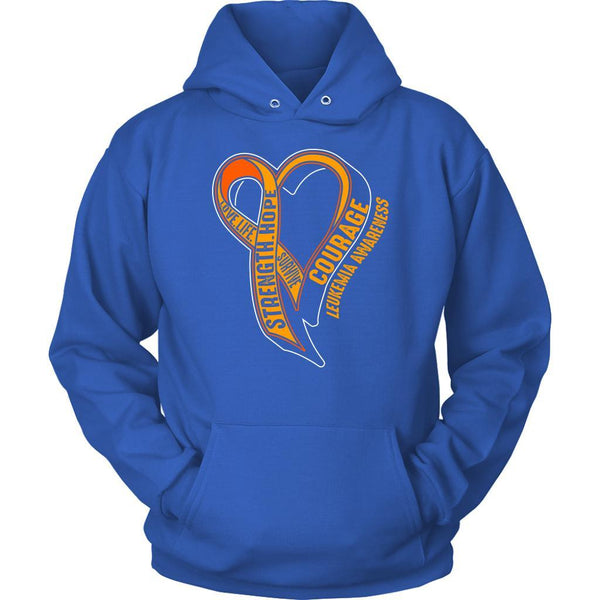 Love Life Survive Strength Hope Courage Leukemia Awareness Hoodie-T-shirt-Unisex Hoodie-Royal Blue-JoyHip.Com