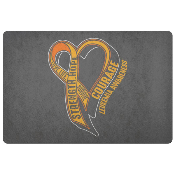 Love Life Survive Strength Hope Courage Leukemia Cancer 18X26 Indoor Door Mat-Doormat-Grey-JoyHip.Com