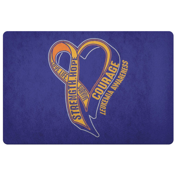 Love Life Survive Strength Hope Courage Leukemia Cancer 18X26 Indoor Door Mat-Doormat-Navy-JoyHip.Com