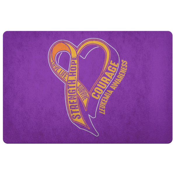 Love Life Survive Strength Hope Courage Leukemia Cancer 18X26 Indoor Door Mat-Doormat-Purple-JoyHip.Com