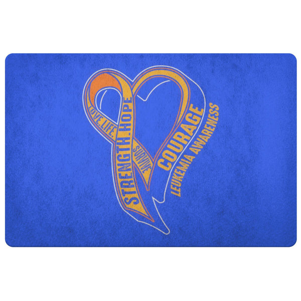 Love Life Survive Strength Hope Courage Leukemia Cancer 18X26 Indoor Door Mat-Doormat-Royal Blue-JoyHip.Com