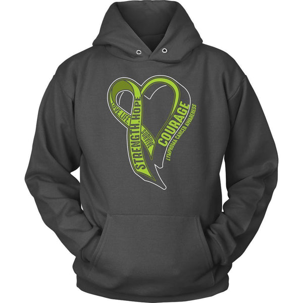 Love Life Survive Strength Hope Courage Lymphoma Awareness Gift Hoodie-T-shirt-Unisex Hoodie-Grey-JoyHip.Com
