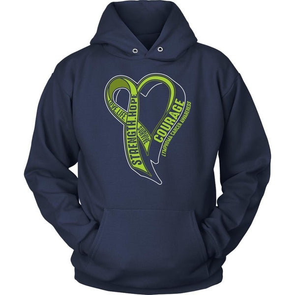Love Life Survive Strength Hope Courage Lymphoma Awareness Gift Hoodie-T-shirt-Unisex Hoodie-Navy-JoyHip.Com