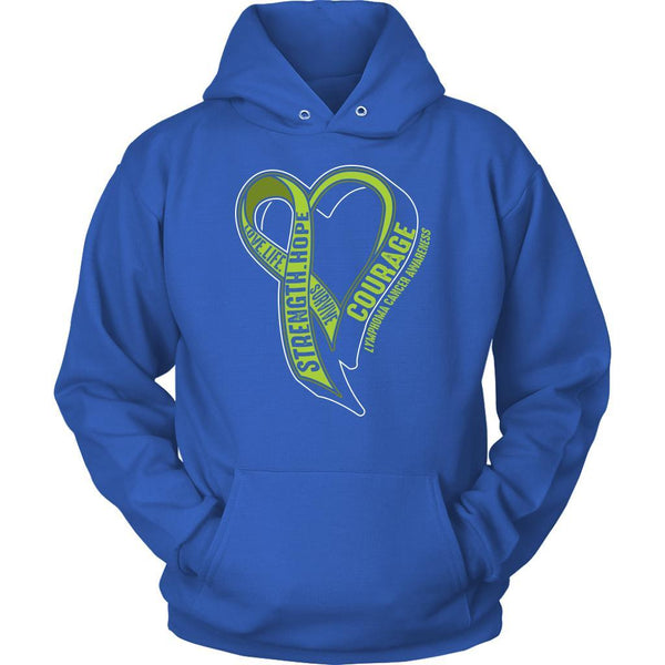 Love Life Survive Strength Hope Courage Lymphoma Awareness Gift Hoodie-T-shirt-Unisex Hoodie-Royal Blue-JoyHip.Com