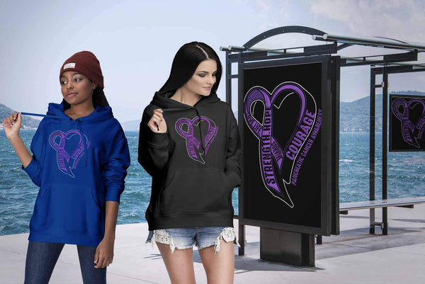 Love Life Survive Strength Hope Courage Pancreatic Cancer Awareness Gift Hoodie-T-shirt-JoyHip.Com