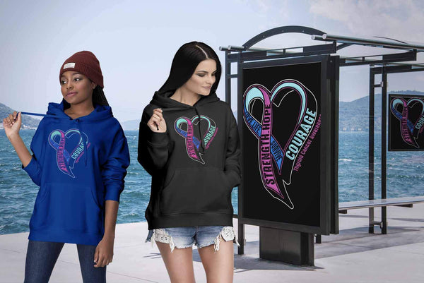 Love Life Survive Strength Hope Courage Thyroid Cancer Awareness Gift Hoodie-T-shirt-JoyHip.Com