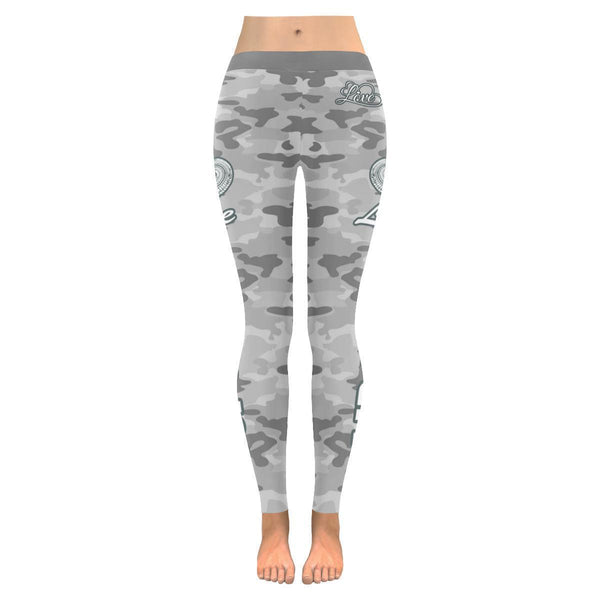 Love Mudding Navy Inspired Blue Camouflage Pattern UPF40+ Cute Womens Leggings-JoyHip.Com