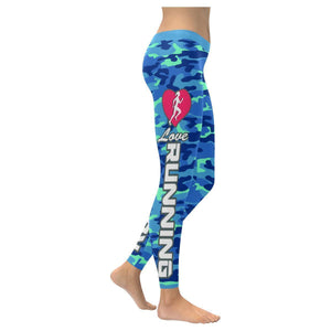 Love Running Navy Inspired Blue Camouflage Pattern UPF40+ Cute Womens Leggings-XXS-Navy-JoyHip.Com
