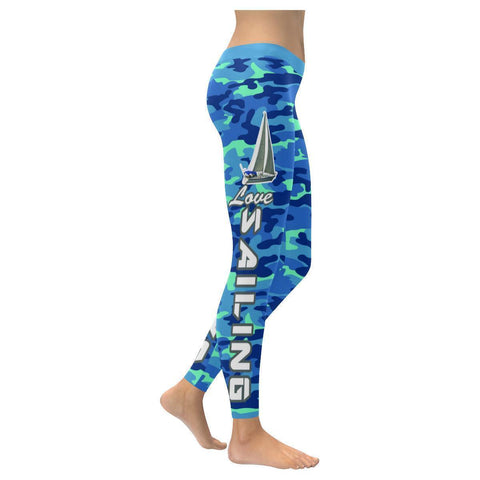 Love Sailing Camouflage Pattern Low Rise Leggings For Women (5 colors)-XXS-Navy-JoyHip.Com