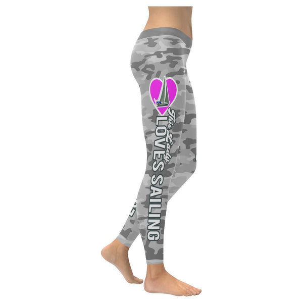 Love Sailing Navy Inspired Blue Camouflage Pattern UPF40+ Cute Womens Leggings-XXS-Grey-JoyHip.Com