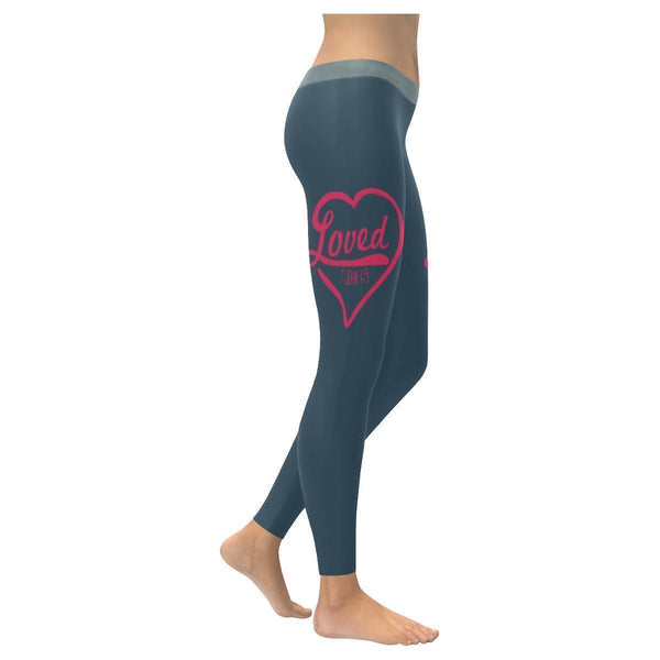 Loved 1 John 4:9 Funny Christian Jesus Faith Religious UPF40+ Womens Leggings-XXS-Grey-JoyHip.Com