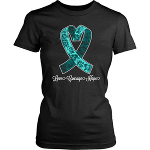 Loves Courage Hope Ovarian Cancer Awareness Teal Ribbon PCOS T-Shirt-T-shirt-District Womens Shirt-Black-JoyHip.Com