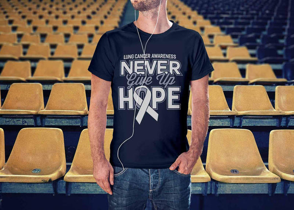 Lung Cancer Awareness Never Give Up Hope Awesome Cool Gift Ideas TShirt-T-shirt-JoyHip.Com
