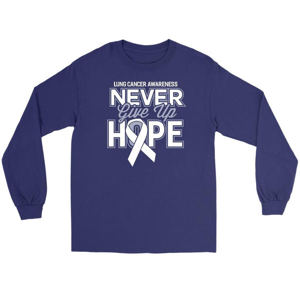 Lung Cancer Awareness Never Give Up Hope Cool Gift Idea Long Sleeve Shirt-T-shirt-Gildan Long Sleeve Tee-Purple-JoyHip.Com