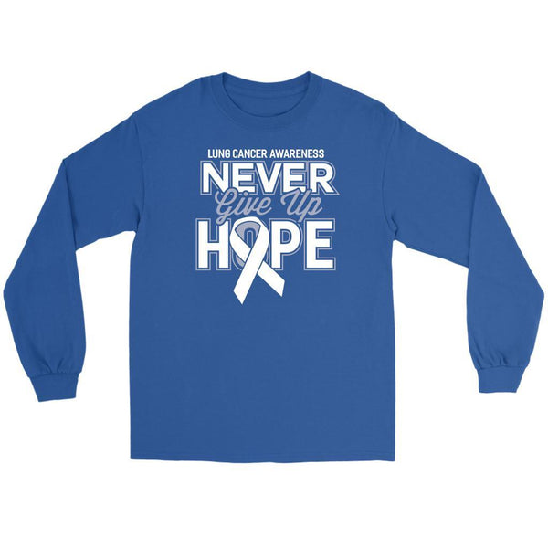 Lung Cancer Awareness Never Give Up Hope Cool Gift Idea Long Sleeve Shirt-T-shirt-Gildan Long Sleeve Tee-Royal Blue-JoyHip.Com