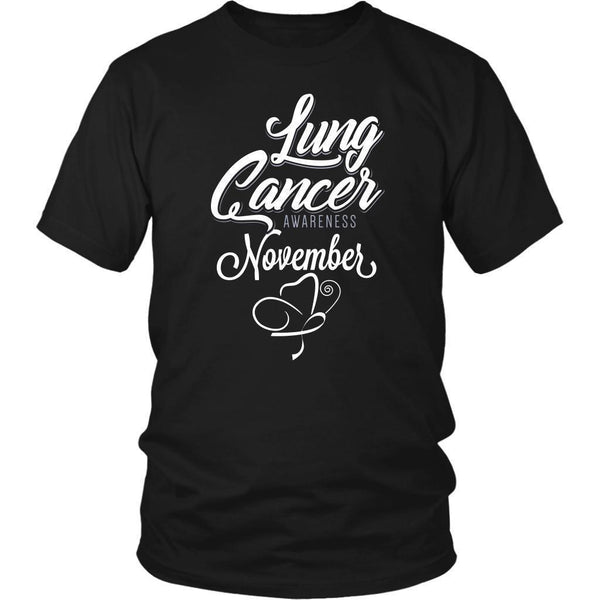 Lung Cancer Awareness November White Ribbon Awesome Cool Gift Ideas TShirt-T-shirt-District Unisex Shirt-Black-JoyHip.Com