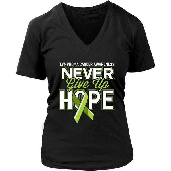 Lymphoma Awareness Never Give Up Hope Awesome Cool Gift VNeck TShirt-T-shirt-District Womens V-Neck-Black-JoyHip.Com