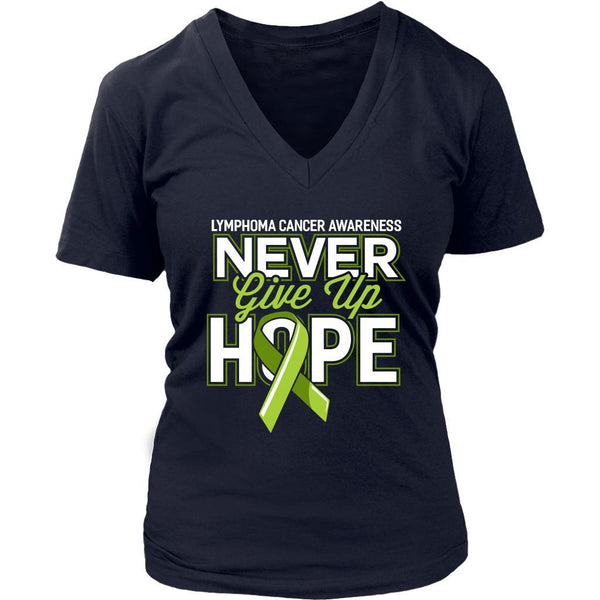 Lymphoma Awareness Never Give Up Hope Awesome Cool Gift VNeck TShirt-T-shirt-District Womens V-Neck-Navy-JoyHip.Com