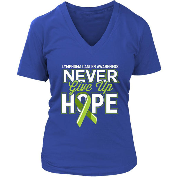 Lymphoma Awareness Never Give Up Hope Awesome Cool Gift VNeck TShirt-T-shirt-District Womens V-Neck-Royal Blue-JoyHip.Com