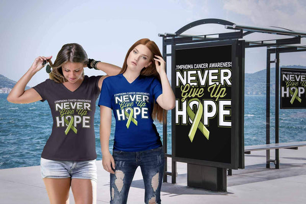 Lymphoma Awareness Never Give Up Hope Awesome Cool Gift VNeck TShirt-T-shirt-JoyHip.Com