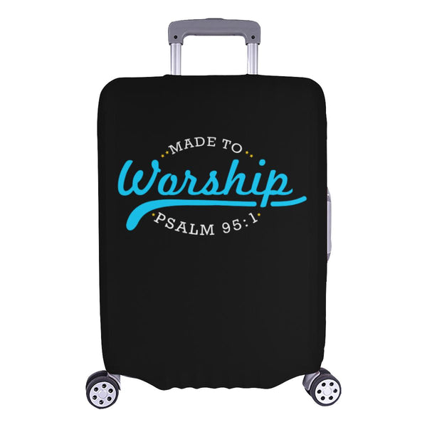 Made To Worship Psalm 95:1 Christian Travel Luggage Cover Suitcase Protector-L-Black-JoyHip.Com