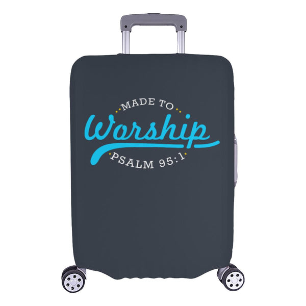 Made To Worship Psalm 95:1 Christian Travel Luggage Cover Suitcase Protector-L-Grey-JoyHip.Com