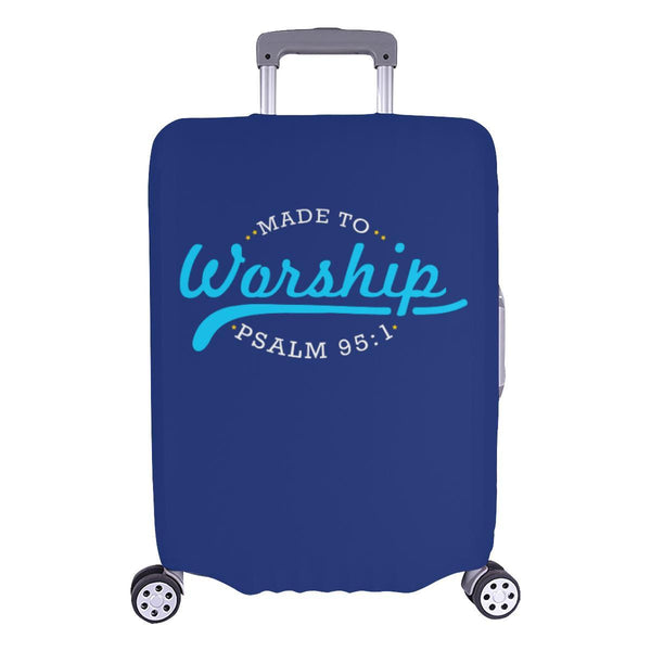 Made To Worship Psalm 95:1 Christian Travel Luggage Cover Suitcase Protector-L-Navy-JoyHip.Com