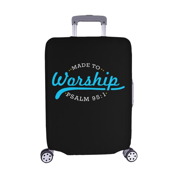 Made To Worship Psalm 95:1 Christian Travel Luggage Cover Suitcase Protector-M-Black-JoyHip.Com