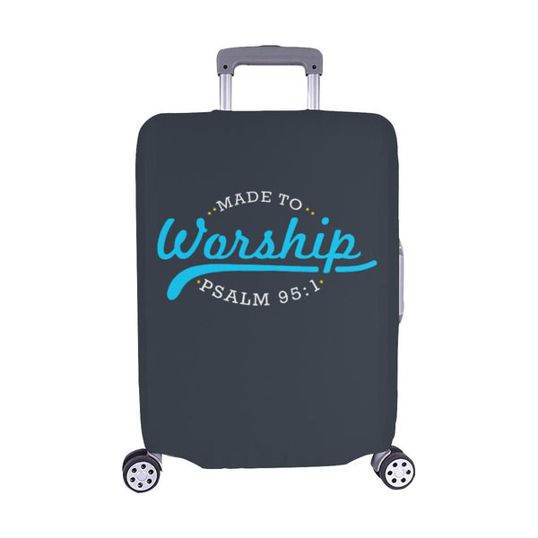 Made To Worship Psalm 95:1 Christian Travel Luggage Cover Suitcase Protector-M-Grey-JoyHip.Com