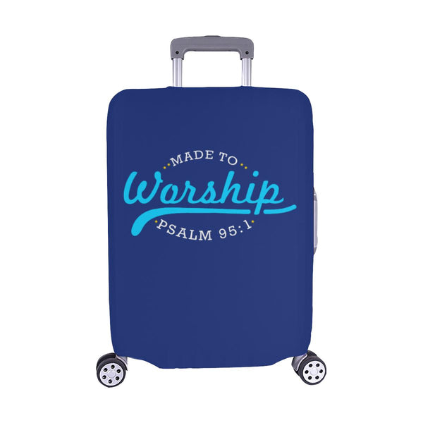 Made To Worship Psalm 95:1 Christian Travel Luggage Cover Suitcase Protector-M-Navy-JoyHip.Com