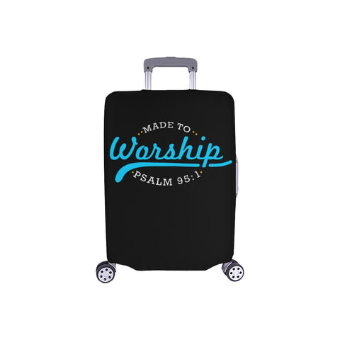 Made To Worship Psalm 95:1 Christian Travel Luggage Cover Suitcase Protector-S-Black-JoyHip.Com