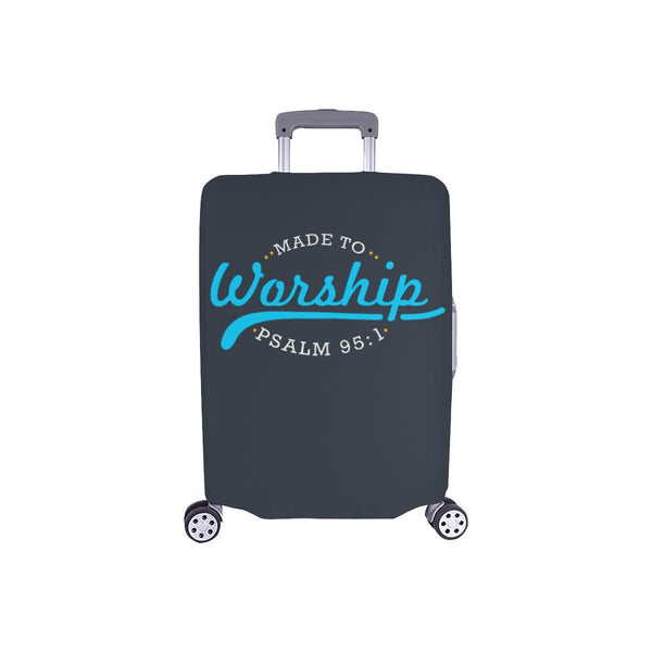 Made To Worship Psalm 95:1 Christian Travel Luggage Cover Suitcase Protector-S-Grey-JoyHip.Com