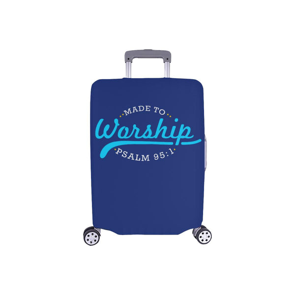 Made To Worship Psalm 95:1 Christian Travel Luggage Cover Suitcase Protector-S-Navy-JoyHip.Com