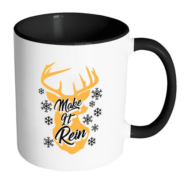 Make It Rein Festive Funny Ugly Christmas Holiday Sweater 11oz Accent Coffee Mug (7 Colors)-Drinkware-Accent Mug - Black-JoyHip.Com