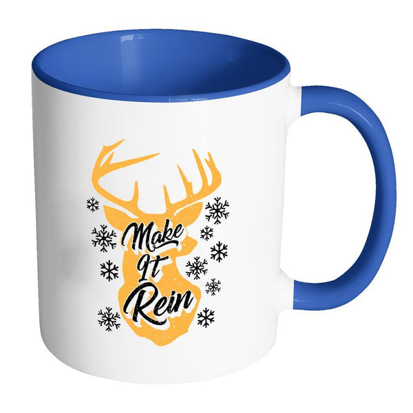 Make It Rein Festive Funny Ugly Christmas Holiday Sweater 11oz Accent Coffee Mug (7 Colors)-Drinkware-Accent Mug - Blue-JoyHip.Com