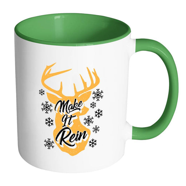 Make It Rein Festive Funny Ugly Christmas Holiday Sweater 11oz Accent Coffee Mug (7 Colors)-Drinkware-Accent Mug - Green-JoyHip.Com