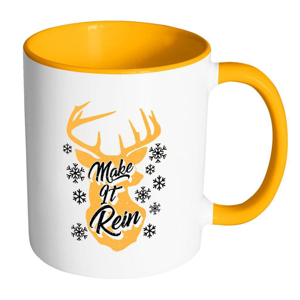 Make It Rein Festive Funny Ugly Christmas Holiday Sweater 11oz Accent Coffee Mug (7 Colors)-Drinkware-Accent Mug - Orange-JoyHip.Com