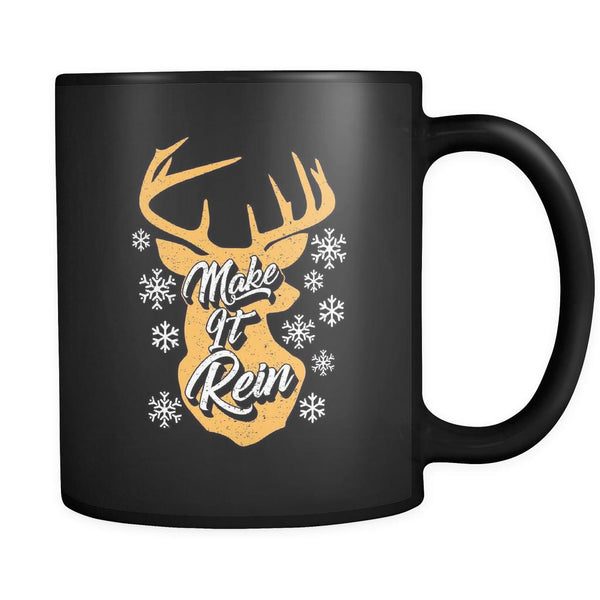 Make It Rein Festive Funny Ugly Christmas Holiday Sweater Black 11oz Coffee Mug-Drinkware-Ugly Christmas Sweater Black 11oz Coffee Mug-JoyHip.Com