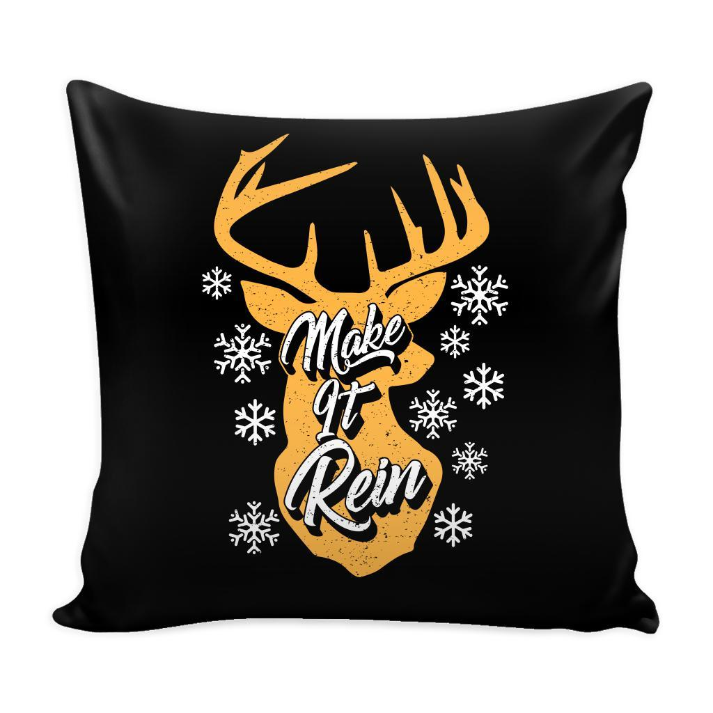 Make It Rein Festive Funny Ugly Christmas Holiday Sweater Decorative Throw Pillow Cases Cover(4 Colors)-Pillows-Black-JoyHip.Com
