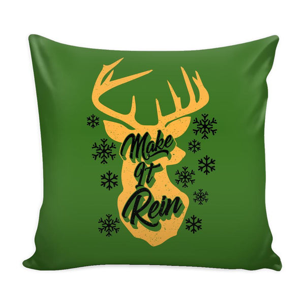 Make It Rein Festive Funny Ugly Christmas Holiday Sweater Decorative Throw Pillow Cases Cover(4 Colors)-Pillows-Green-JoyHip.Com