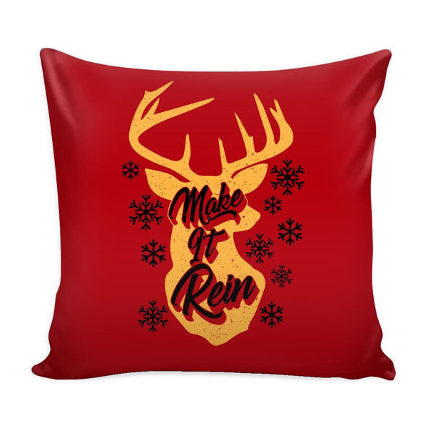 Make It Rein Festive Funny Ugly Christmas Holiday Sweater Decorative Throw Pillow Cases Cover(4 Colors)-Pillows-Red-JoyHip.Com