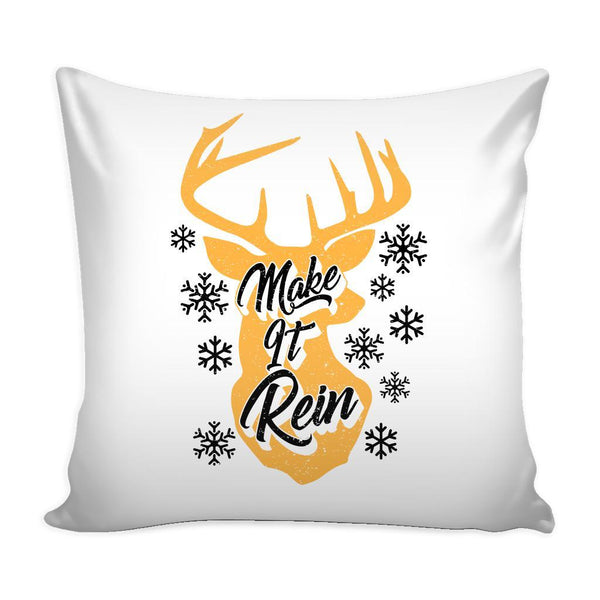 Make It Rein Festive Funny Ugly Christmas Holiday Sweater Decorative Throw Pillow Cases Cover(4 Colors)-Pillows-White-JoyHip.Com