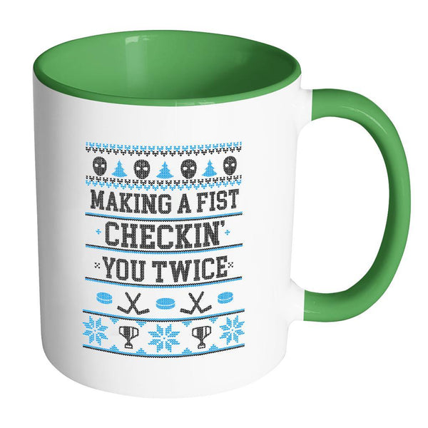 Making A Fist Checkin You Twice Ugly Christmas Sweater 11oz Accent Coffee Mug (7 Colors)-Drinkware-Accent Mug - Green-JoyHip.Com