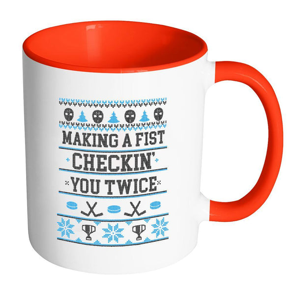 Making A Fist Checkin You Twice Ugly Christmas Sweater 11oz Accent Coffee Mug (7 Colors)-Drinkware-Accent Mug - Red-JoyHip.Com