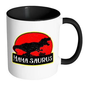 Mamasaurus Awesome Cool Cute Funny Hip Unique Mommy Gift Idea 7Color Mug-Drinkware-Accent Mug - Black-JoyHip.Com